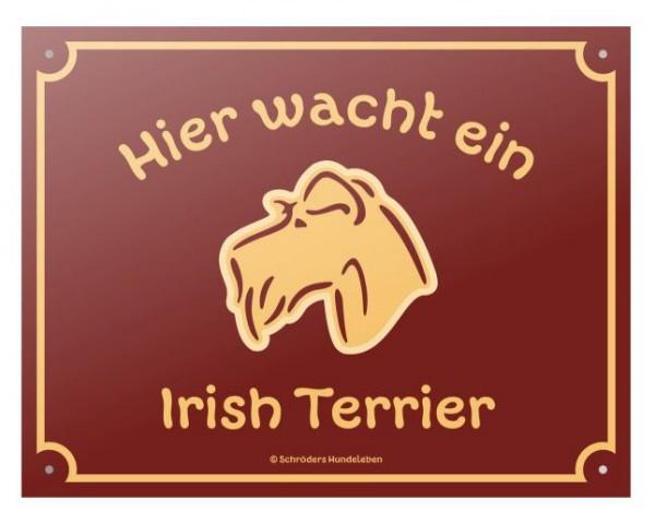 Rasseschild: Hier wacht ein Irish Terrier